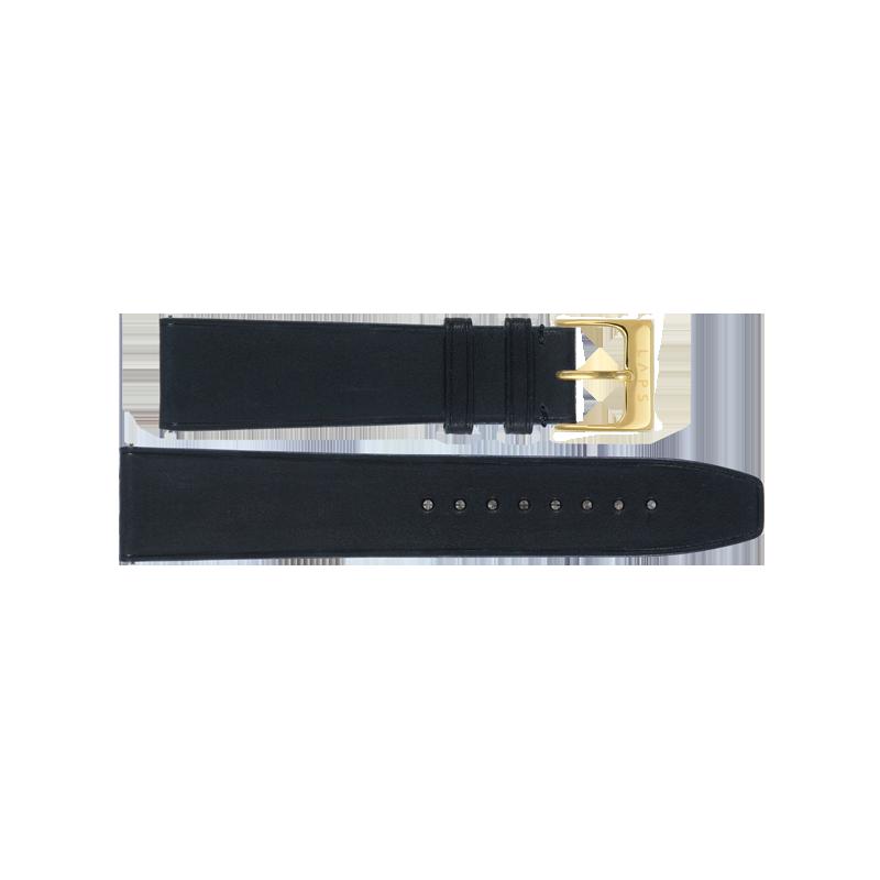 Cuir Noir mat 20mm - Or