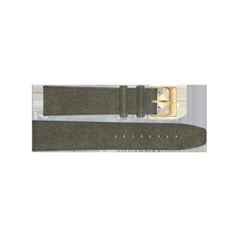 Bracelet montre LAPS cuir vert olive - or