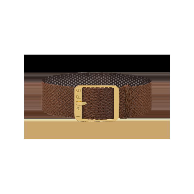 Bracelet perlon de montre LAPS tabac - or