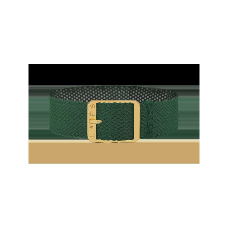 Bracelet perlon de montre LAPS Vert Empire - Argenté