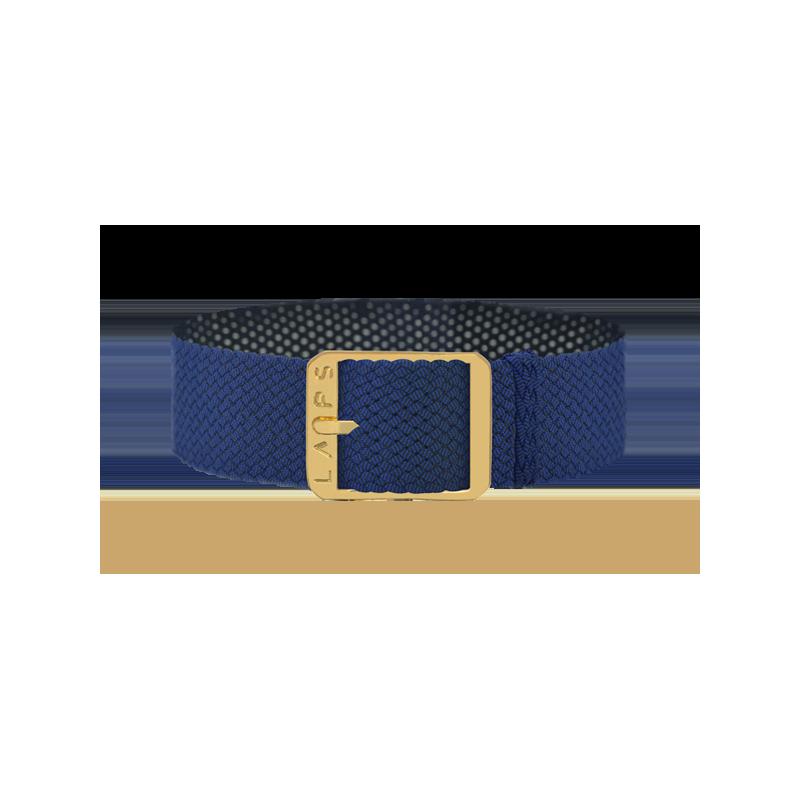 Bracelet perlon de montre LAPS bleu cobalt - or